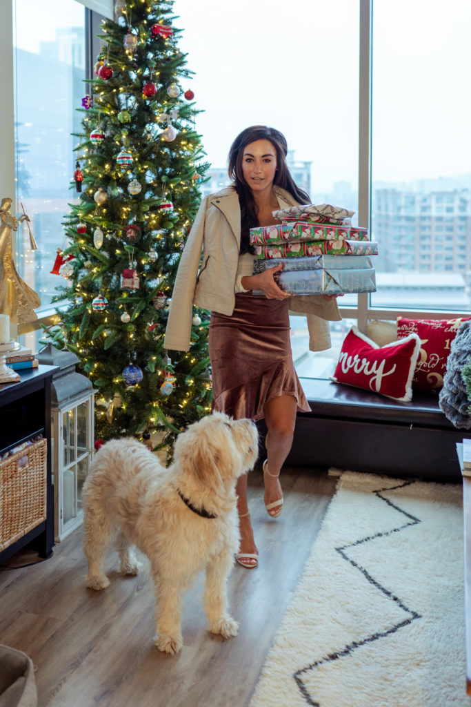 Model posing by Christmas tree with dog.
