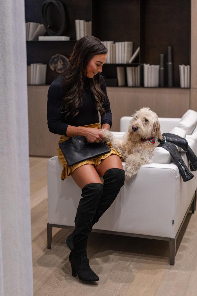 Model wearing black OTK Boots.