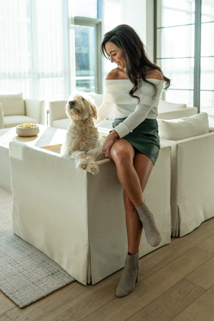 Model posing with her dog.